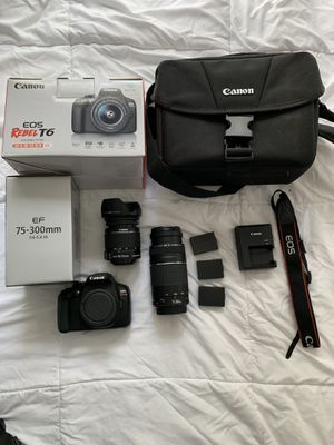 Canon Rebel T6 DSLR with 2 Kit Lenses and extra batteries for Sale in El Cajon, CA