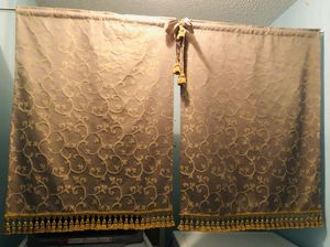 2Panels Royal Gold Embroidered Privacy Curtains + Tension Rod for Sale in Ellenwood, GA