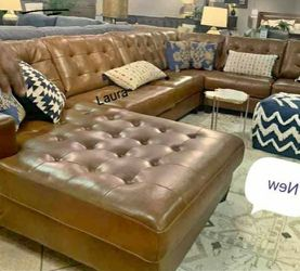 🧃same DAY free delivery 🐾Baskove Auburn Large Leather RAF Sectional ,sofa, couch, living room set 🌾 for Sale in Bellaire,  TX