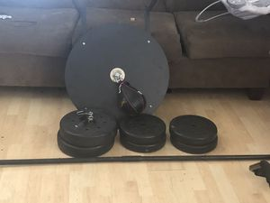 Speed bag and weight curling set for Sale in Newark, CA
