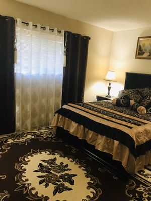 Ashley Bedroom set/queen size bed/12inches memory foam mattress/dresser with mirror/side tables/matching lamps set for Sale in Modesto, CA