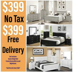 New Bedroom Set...queen sleigh bed frame,dresser,mirror,and nightstand..... for Sale in Glendale, AZ