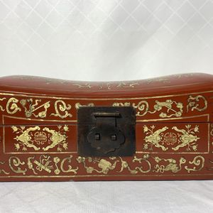 Antique Chinese Leather Wood Pillow Box Dragons Flowers for Sale in Portland, OR