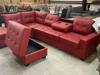 Heights Red Faux Leather Sectional And Ottoman ❗$39 Down Payment 100 Days Same As Cash for Sale in Austin,  TX