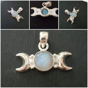 92.5 Sterling Silver 5ctw Rainbow Moonstone Double Cresent Moon Beaded Pendant for Sale in Pawtucket, RI