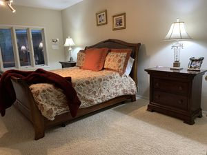Used King size bed frame, wood and leather. for Sale in Marshall, TX