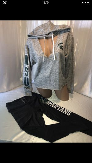 Victoria's Secret pink Michigan state Spartans Hoodie & Ultimate Legging set nwt for Sale in Shelby Charter Township, MI