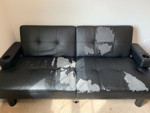Free black leather couch for Sale in Braintree, MA