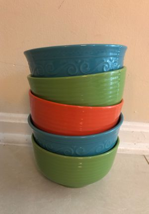 6 colorful bowls! Dishwasher and microwave safe for Sale in Rockville, MD