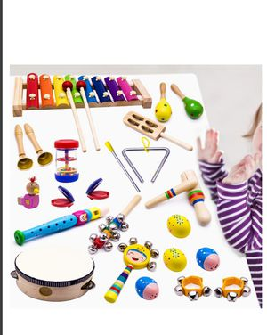 TOYS Kids Musical Instruments, 15 Types 22pcs Wood Percussion Xylophone Toys for Boys and Girls  NEW IN BAG. Great gift for kids toys Sealed for Sale in Silver Spring, MD