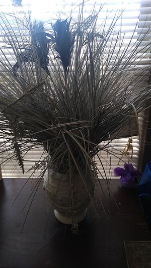 Fake plant with peacock feathers for Sale in Downers Grove, IL