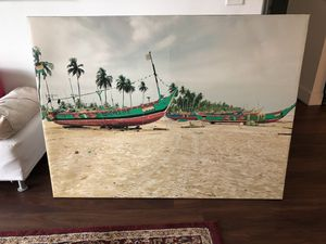 Boat on a Beach Painting Picture On Canvas - Wall Decor for Sale in Lake Worth, FL