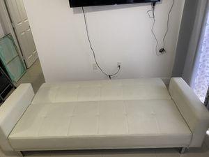 Off-white Leather Sofa Bed / Futon for Sale in Miami, FL