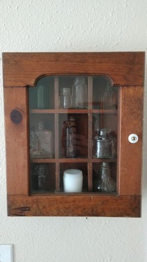 Wood Vintage Shadow Box with bottles for Sale in Aberdeen, WA