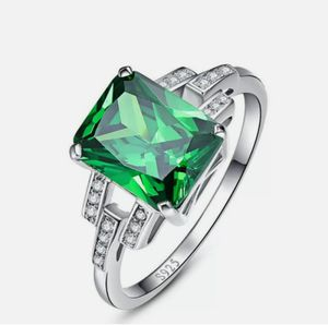 S925 Princess Cut Emerald Ring sz 7 for Sale in Wichita, KS