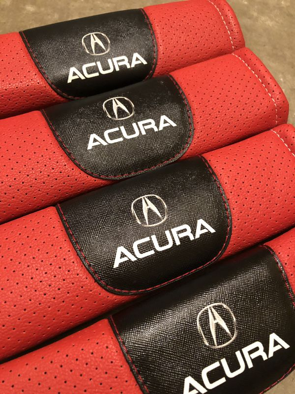 Acura red leather seat belt pads