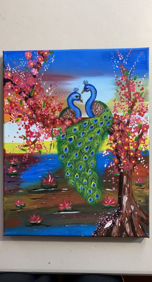 Peacock canvas handmade painting for Sale in Kent, WA