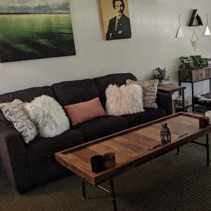 Dark Great sofa (4mos Old) , Up-cycled Coffee Table + for Sale in San Diego, CA