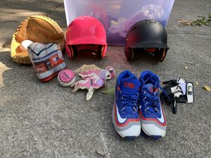 Two Baseball Batting Helmets, gloves, and other equipment for Sale in Oak Park, IL