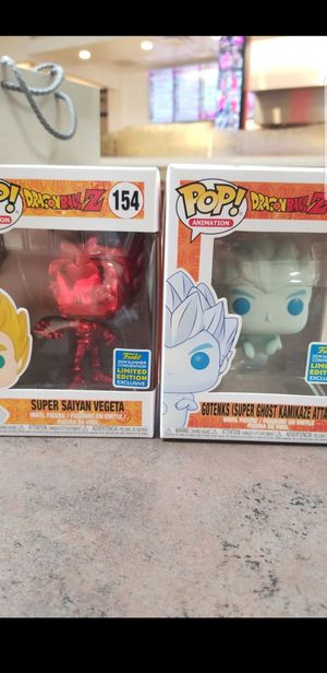 2019 SDCC Shared Exclusive Dragonball Z Kamikaze Ghost Gotenks and Red Chrome Vegeta Funko Pops for Sale in Norwalk, CA