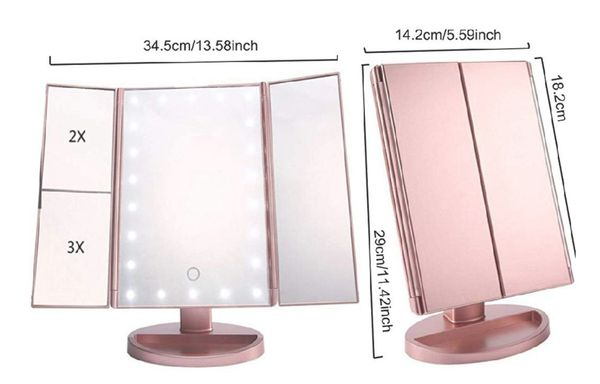 *13 Remaining* Rose Gold Tri-Fold 22 Led Lights Vanity Makeup Mirror