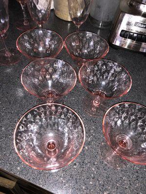Pink depression glasses-10 total for Sale in Aspen Hill, MD
