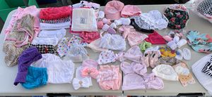 Newborn hats, shoes, burp cloths, swaddler blankets, Alba diapers for Sale in Escondido, CA