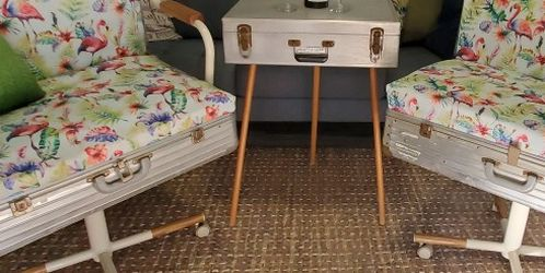 Vintage Luggage Chairs And Table for Sale in Whittier,  CA