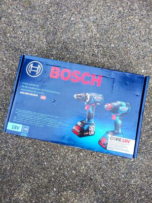 """BOSCH 18 Volt Core Brushless 1/2"""" Hammer Drill & 1/2"""" Impact Wrench (doubles as 1/4"""" impact driver) Kit With 2 Batteries & Charger for Sale in Tacoma, WA"""