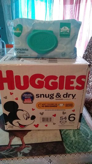 1 Box HUGGIES Snug&dry 54 Diapers size 6 With pampers wipes 72 for Sale in Central Falls, RI