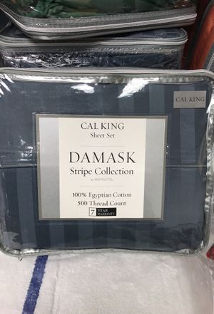 California king size sheet set slate wamsutta 500 thread count 100%cotton for Sale in Hyattsville, MD