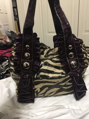 Huge purple zebra bag - can fit a laptop for Sale in Lakewood, WA