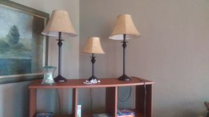 2 sofa/banquet lamps and one shorter occasional lamp for Sale in Nashville, TN
