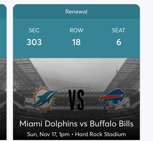 Buffalo Bills 2 tickets for Sale in Davie, FL