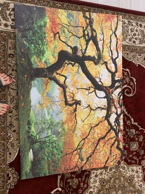 Canvas maple tree wall art glows in dark picture included for Sale in Los Angeles, CA
