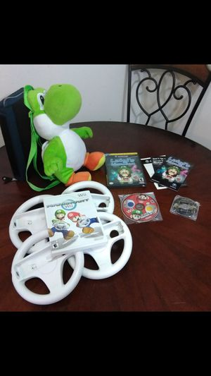 NEW Super Mario Bros Wii Nintendo GameCube OEM bundle Wario world Mariokart super Mario Yoshi backpack 4x motion wheels Warioworld Luigi's Mansion for Sale in El Cajon, CA
