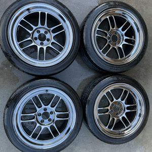 Enkei rpf1 SBC - 17x9 +35 5x100 with new tires for Sale in Monterey Park, CA