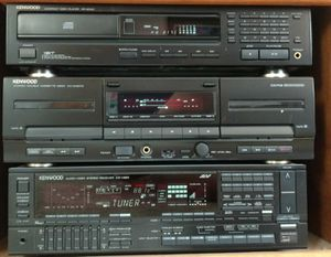 Kenwood Component Stereo AV System (Amp, Dual Cassette Deck, CD Player, Turntable) w/ Two 100W Speakers for Sale in Costa Mesa, CA