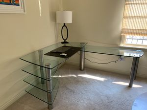 Italian thick glass L shape desk for Sale in Pasadena, CA
