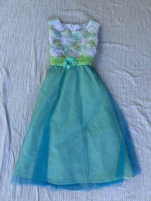 Girls size 16 kinda formal dress blue/green sleeveless flower girl wedding par for Sale in Painesville, OH