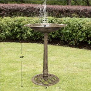 VIVOHOME Polyresin Antique Outdoor Copper Garden Bird Bath and Solar Powered Round Pond Fountain Combo Set for Sale in Moreno Valley, CA