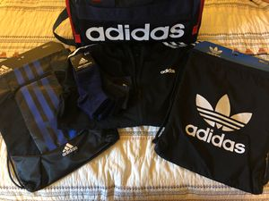 ADIDAS BUNDLE! BRAND NEW JACKET, 2 DRAWSTRING BAGS, 1 DUFFLE BAG, AND 6 PACK OF ADIDAS SOCKS for Sale in Tyler, TX