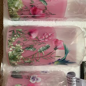 Flameless Glass Floral Print Candles for Sale in Silver Spring, MD