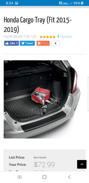 Honda fit cargo tray for Sale in Rancho Cucamonga, CA
