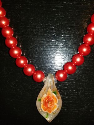 Faux Orange pearl Necklace with charm & bracelet for Sale in Charlotte, NC