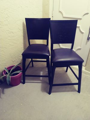 Set of 2 bar stools. Wood with leather cushions. for Sale in Fort Myers, FL