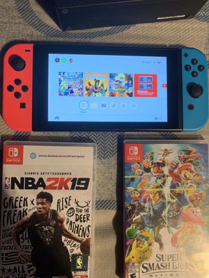 Nintendo Switch plus pro controller Smash bros NBA 2k19 Naruto and case for Sale in Tampa, FL