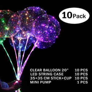 10 pack Bobo balloons with stick and lights - globos iluminados for Sale in Miami, FL