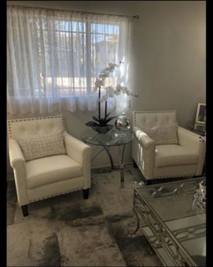 2 white veg leather sofa chairs for Sale in Los Angeles, CA