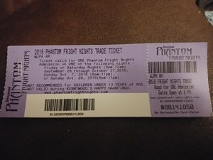 Phantom fright night tickets. for Sale in Washington, PA